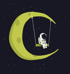 Cute astronaut sits on swing in space vector