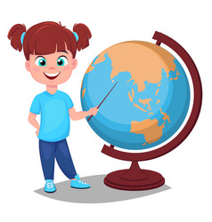 Cute girl points to the globe with a pointer vector