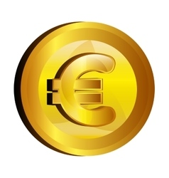 Euro money gold icon vector