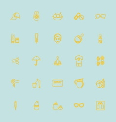 Facial and body treatment yellow line icons vector