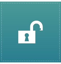 Flat open padlock icon vector