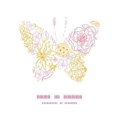Flowers outlined butterfly silhouette vector