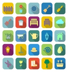 Gardening color icons with long shadow vector image vector image