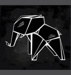 Geometric pattern origami elephant vector