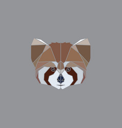 geometric red panda head vector image