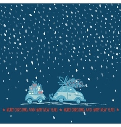 Greeting card with Christmas tree on car roof and vector image