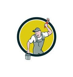 House painter paintbrush paint bucket circle vector