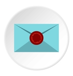 Letter with sealing wax icon flat style vector