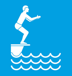 man standing on springboard icon white vector image vector image