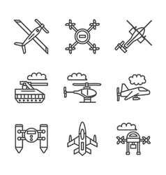 Military unmanned vehicles flat line icons vector
