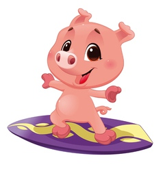 Pig with surf vector