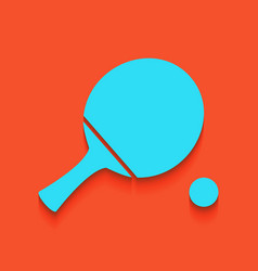 Ping pong paddle with ball whitish icon vector