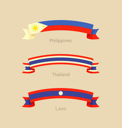 Ribbon with flag of philippines thailand and laos vector
