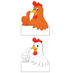 Rooster cartoon giving thumb up vector image vector image