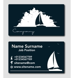 Sailing yacht business card template vector