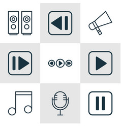 Set of 9 multimedia icons includes mike music vector