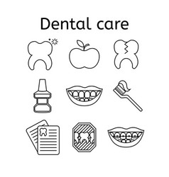 Set of dental in modern thin line style high vector