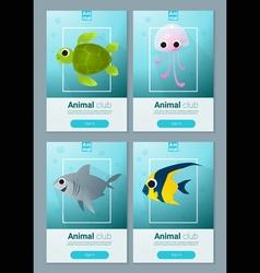 Set of sea animal templates for web design 1 vector image