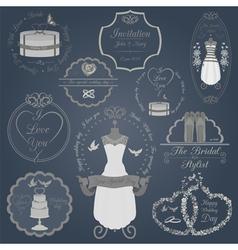 Set of vintage wedding and wedding fashion style vector image vector image