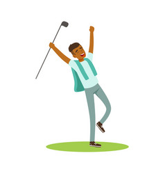 Smiling man golfer celebrating his win vector