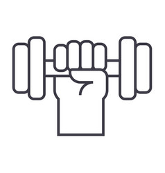 strong hand with dumbbell line icon sign vector image vector image