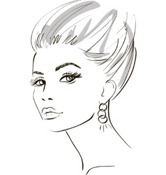 Stylish woman sketch vector