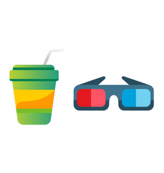 take out drink cup and cinema glasses vector image