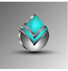 the 3dshiny futuristic emblem vector image vector image