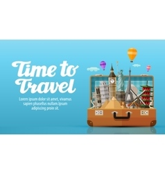 Travel to world open suitcase with landmarks vector