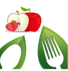Vegan food fresh fruit design vector