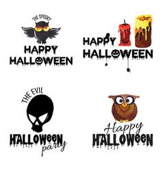 Watercolor halloween logo designs vector