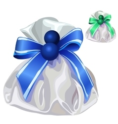 White silk bag for gifts with blue bow vector image