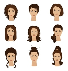 Young woman girls with various different hair vector image vector image