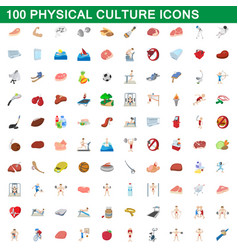 100 physical culture icons set cartoon style vector image vector image