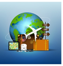 The concept of travel of famous world vector