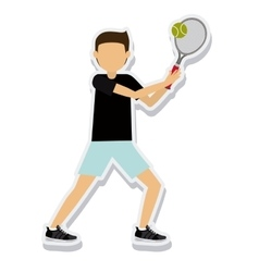 Person figure athlete tennis sport icon vector