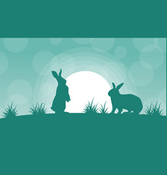 Silhouette of bunny and light landscape vector