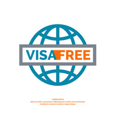 Modern poster free visa with blue globe vector