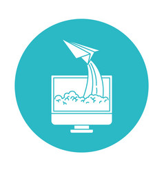Circle light blue with lcd monitor and paper plane vector