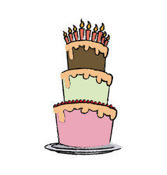 Cream birthday cake with burning candles vector