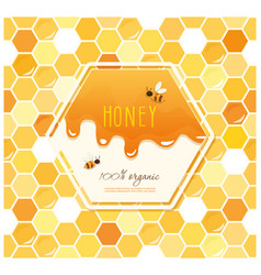 Honey package design label on seamless honeycomb vector