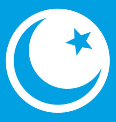 Crescent and star icon white vector