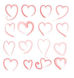 Brush stroke sketch drawing of hearts shape set vector