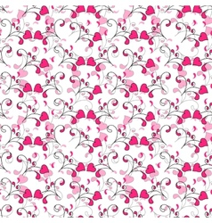 Seamless background with hearts and swirls vector