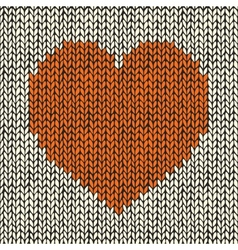 Seamless pattern with knitted heart vector