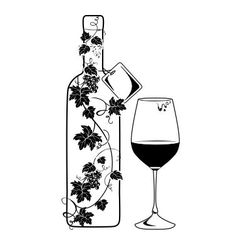 Wine bottle with vine vector