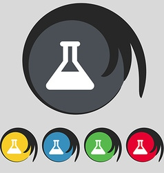 Conical flask icon sign symbol on five colored vector