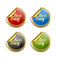 Colorful best buy stickers vector