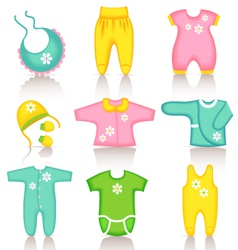 Baby clothing icons vector