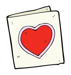 Comic cartoon love heart card vector